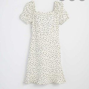 NWT LOFT Petite Dotted Tie Back Flare Dress